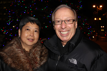 Mayor Katz and Mabel Lam in front of tree