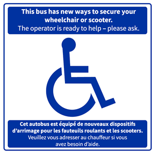 Bus securements for wheelchairs and scooter sign