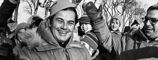 Mayor Robert Steen at the Junior Winter Games, Kildonan Park, 1978