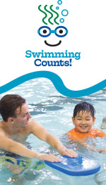 Swimming Counts Logo above image of student with instructor