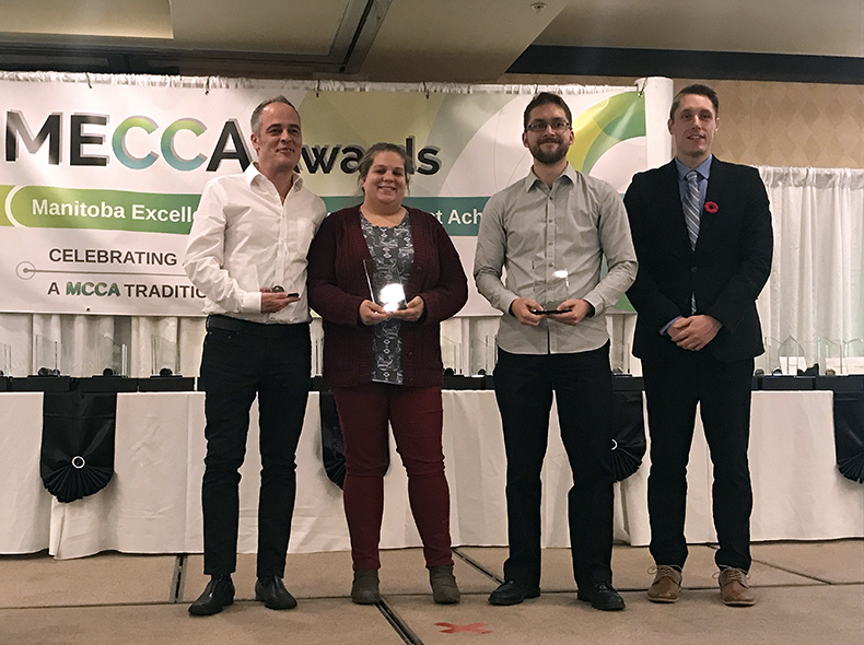 (from left) Antonio Fernandes, Tia Sparling, and Mario Gigliotti from the 311 Contact Centre receive their awards.