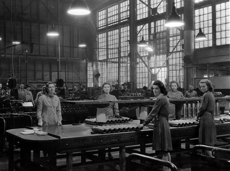 Women working at the Dominion Bridge Company, ca. 1940.