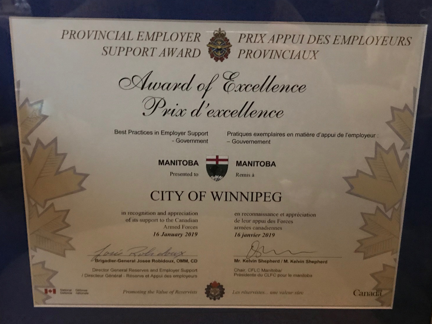 The City of Winnipeg previously received the Best Practices in Employer Support for a Government Organization for Manitoba award in January 2019.