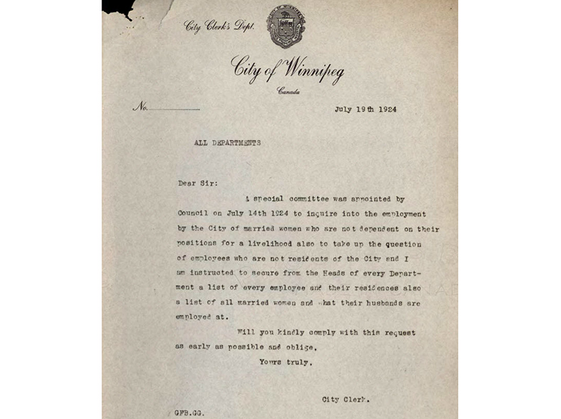 Letter dated July 19, 1924 from the City Clerk advising of the Special Committee to Enquire into the Employment of Married Women's request for a list of all married women and their husbands' employment details.