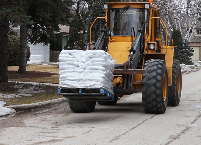 Crews will deliver sandbags to properties identified as needing a sandbag dike.