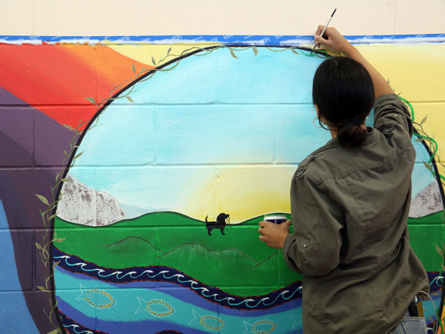 It took Emily Marcial just over a week to finish the mural.
