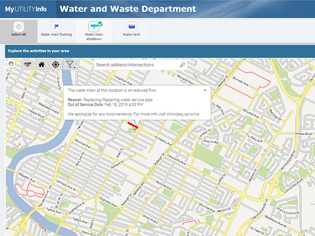 The MyUtilityInfo website now includes a map showing detailed information about water main activity.