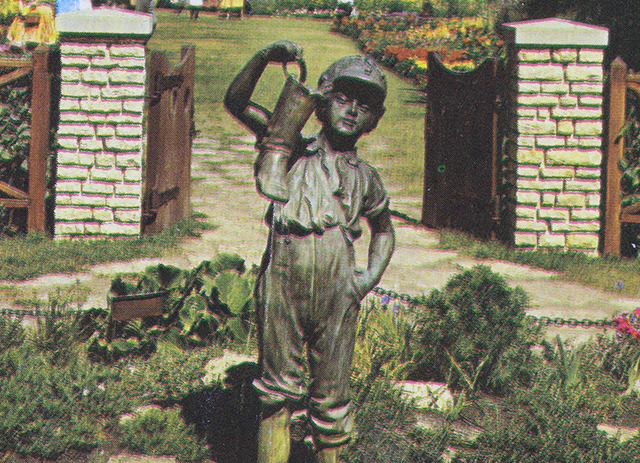 The Boy with the Boot statue was moved to the entrance of the English Garden in Assiniboine Park in 1953.