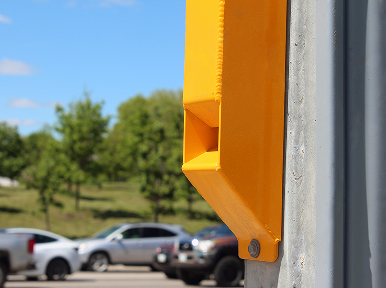close-up of an accessible pedestrian signal
