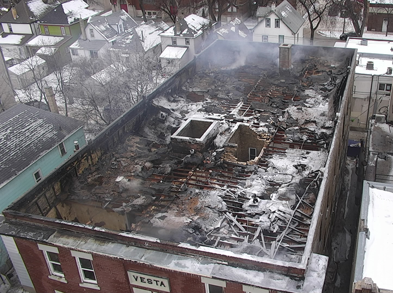 The Remotely-Piloted Aerial System was used to help fight an apartment block fire on Agnes Street earlier this year