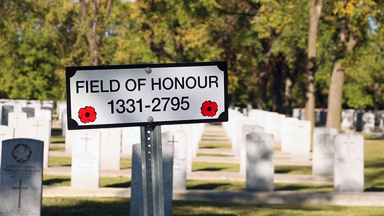 Cemetery sign reading, Field of Honour: 1331-2795