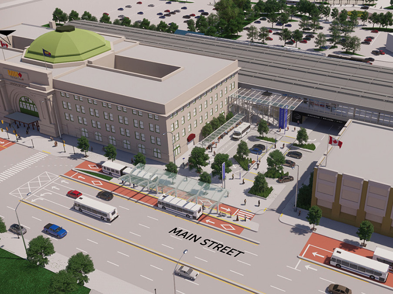 Under the draft plan, transit lines would be routed through three locations at Union Station: in front of it and behind it at street level, and from an elevated transitway inside.