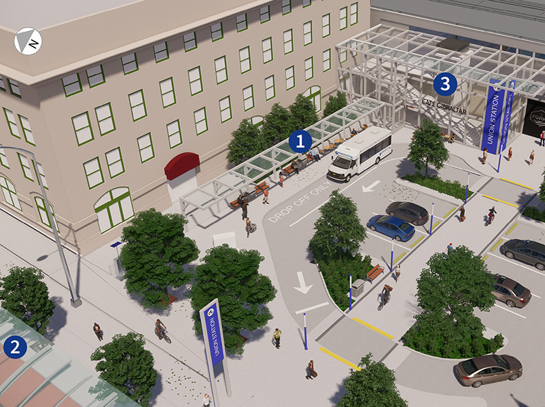 A diagram of Union Station shows an accessible drop off point (1) located between two accessible stations (2,3). The plan proposes a pilot project integrating Transit Plus with conventional transit.