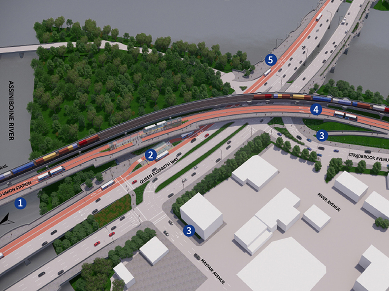 The plan proposes different kinds of infrastructure. This diagram of proposed changes at the intersection of Queen Elizabeth Way, Mayfair Avenue, and Stradbrook Avenue, including an elevated transitway (1) connecting Union Station and Harkness Station.