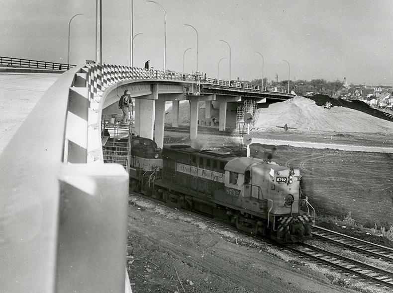 Nairn overpass approaching completion in 1967.