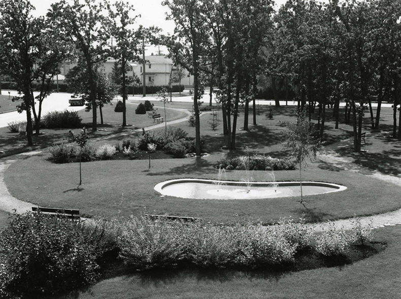 Mini-park on Academy Road at Kenaston Boulevard taken between 1960 and 1971.