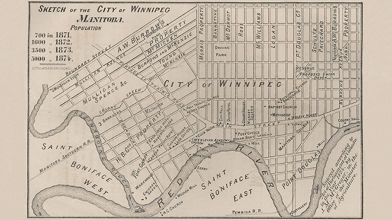 Sketch of the City of Winnipeg, Manitoba. 1874