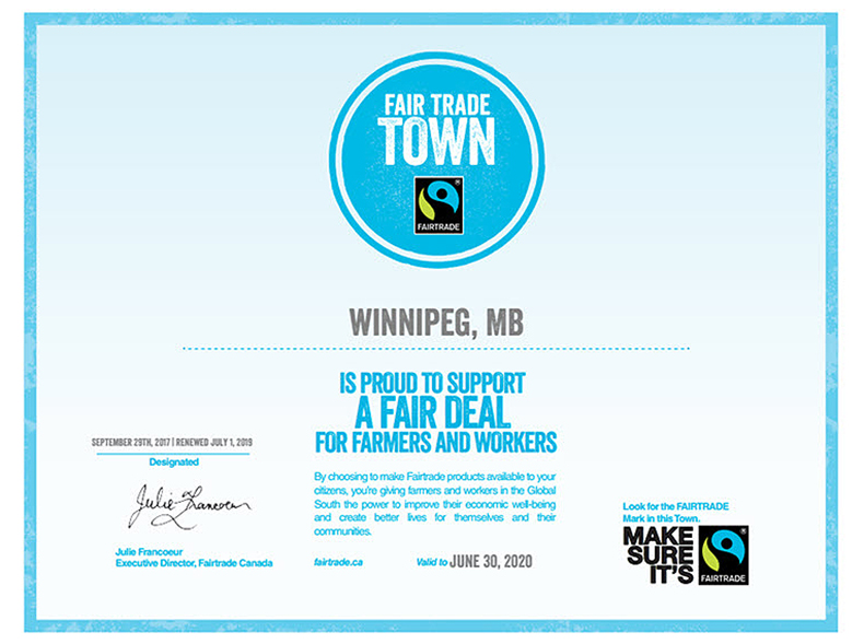 Winnipeg continues to proudly be designated a Fair Trade Town