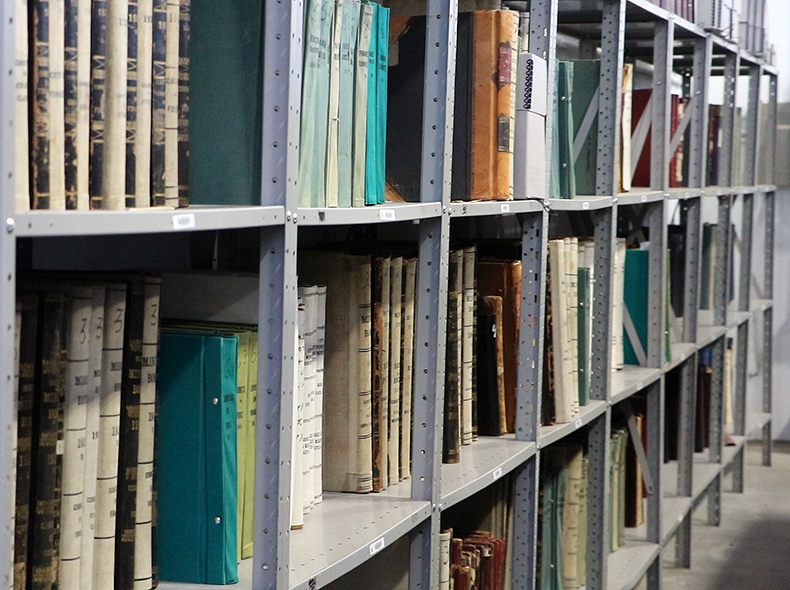 There are around 10,000 linear feet of records stored in the archives building on Myrtle Street.