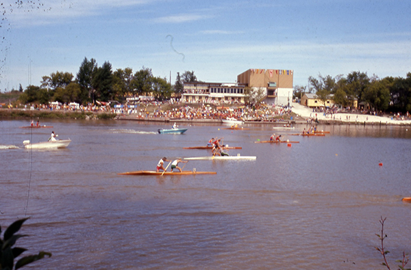Photograph of regatta at the Winnipeg Canoe Club, circa 1975