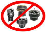 Examples of backflow devices that are installed in basement floor drains. These devices are not eligible for the subsidy.