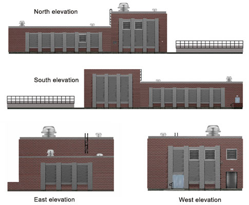 UV disinfection building elevations