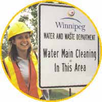 Water main cleaning sign