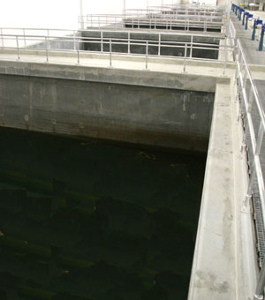 Image of water treatment plant filter tanks
